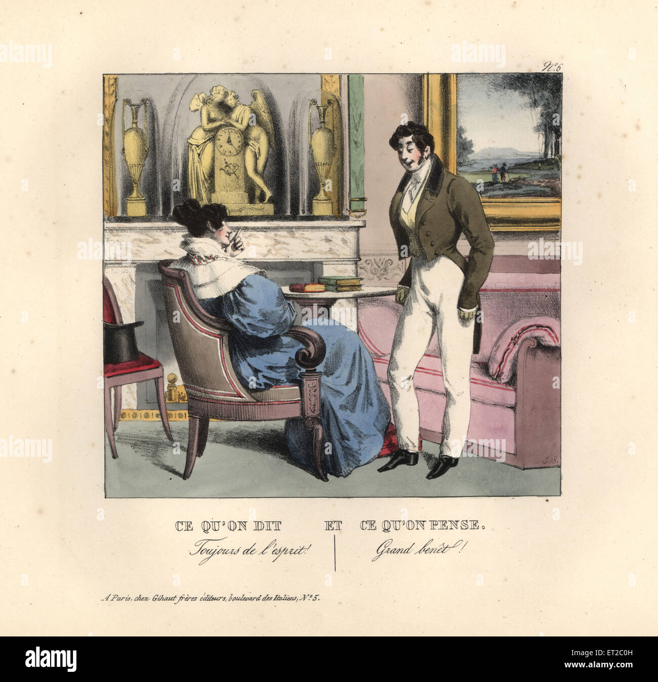 Lady flattering a foppish gentleman in a parlour. Always so intelligent! (You big booby!) - Stock Image