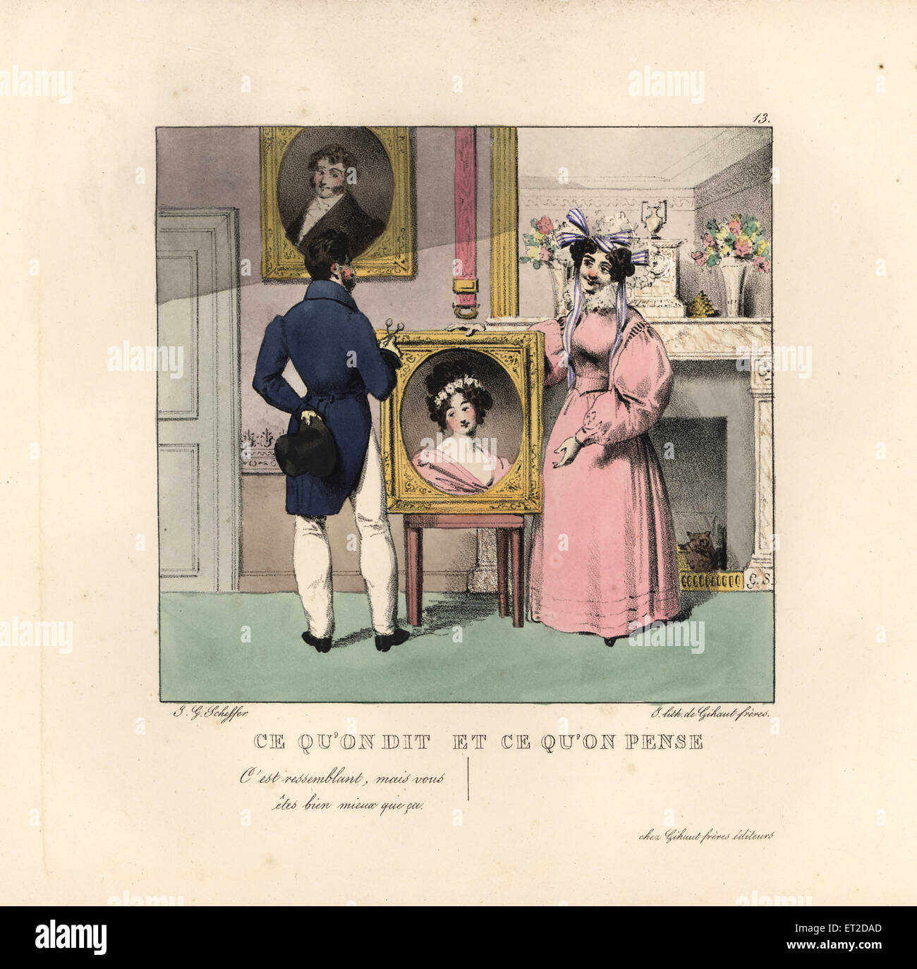 Gentleman and ugly lady with beautiful portrait in a parlour. He flatters her with, It looks like you, but you are - Stock Image