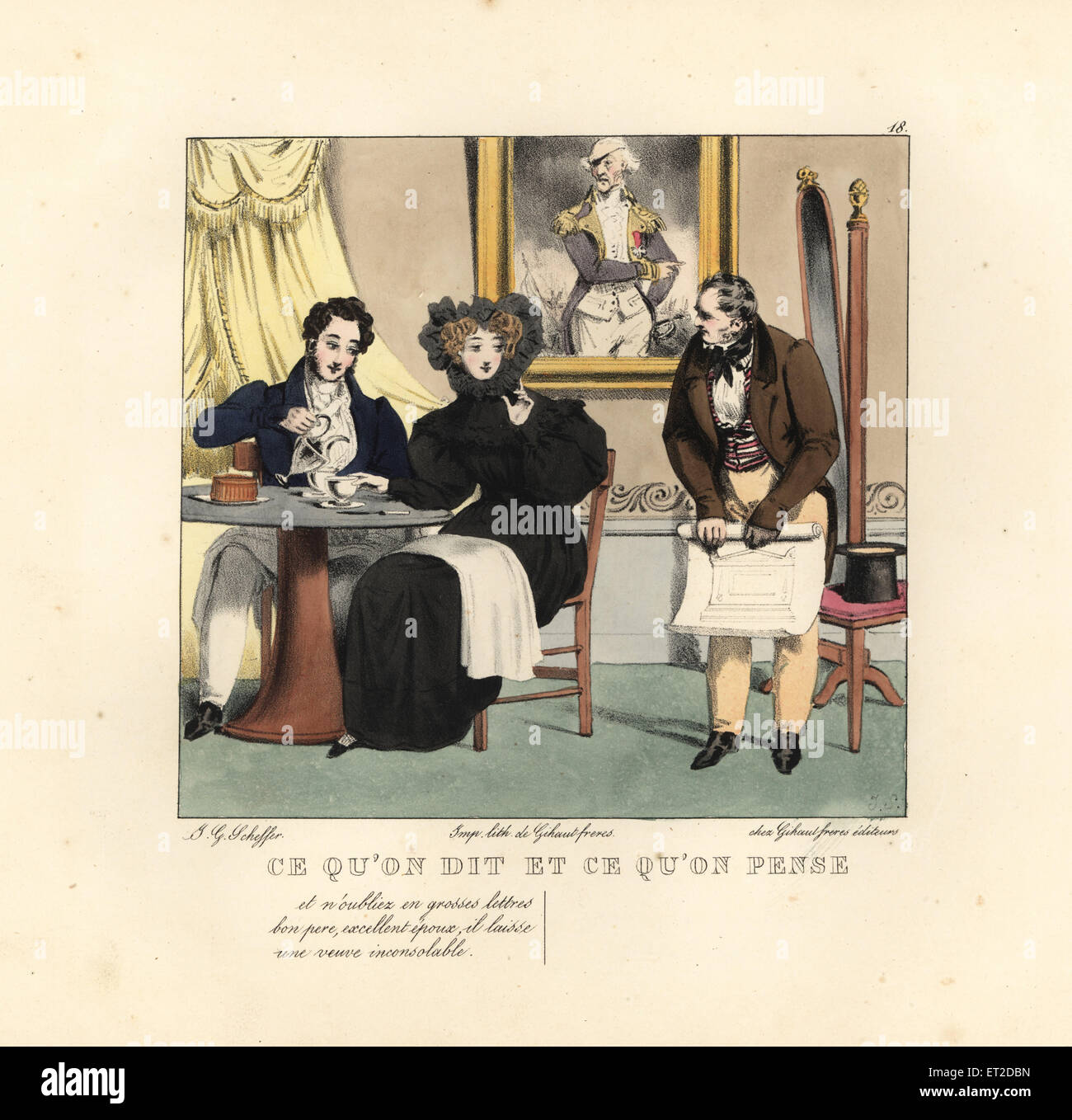 Widow and young man taking coffee in a restaurant talking to a stone mason. She says, And don't forgot in large - Stock Image