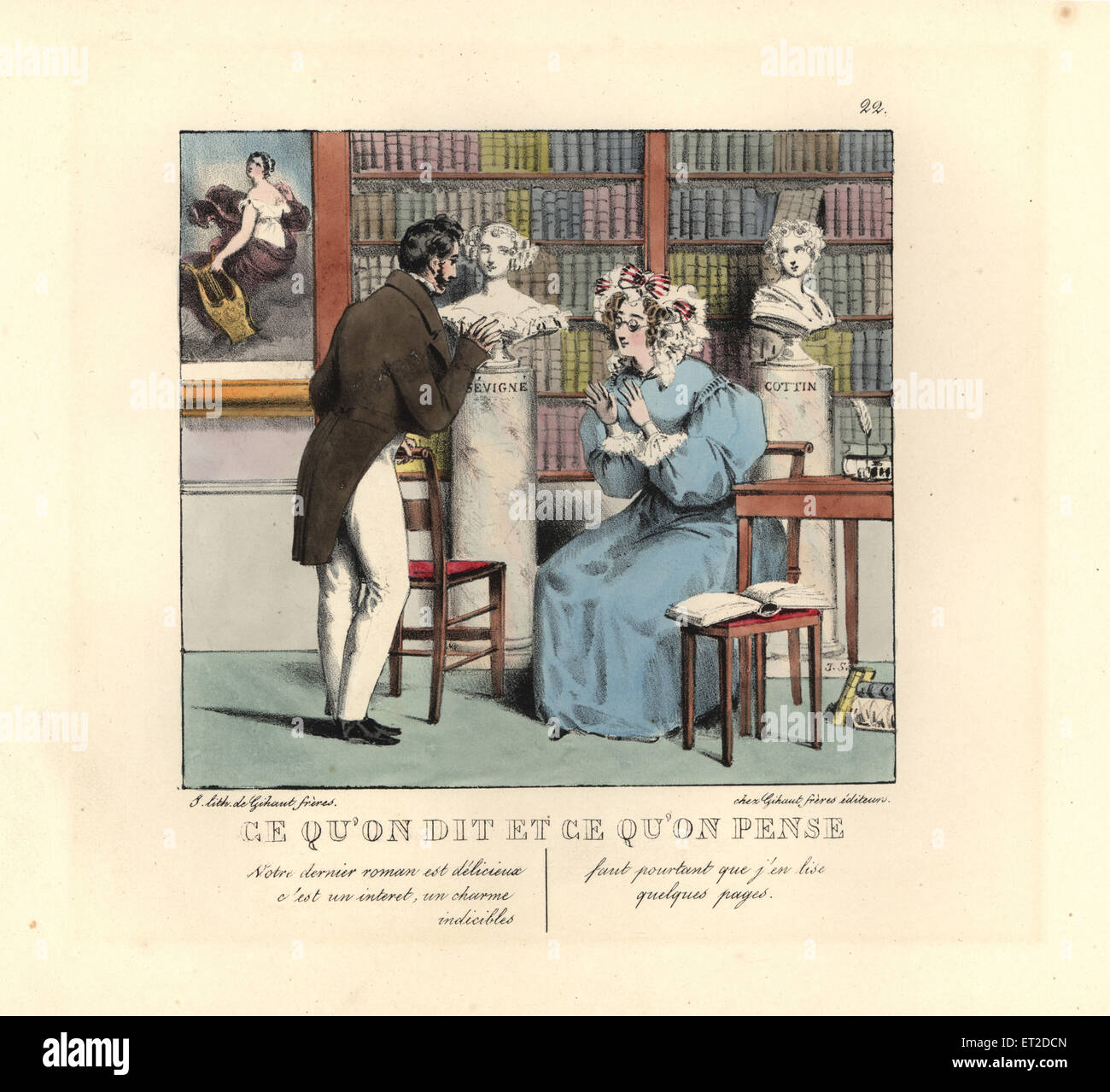 Bookish woman in a library talking to an author. She says, Your last novel is delicious with an indescribable charm. - Stock Image