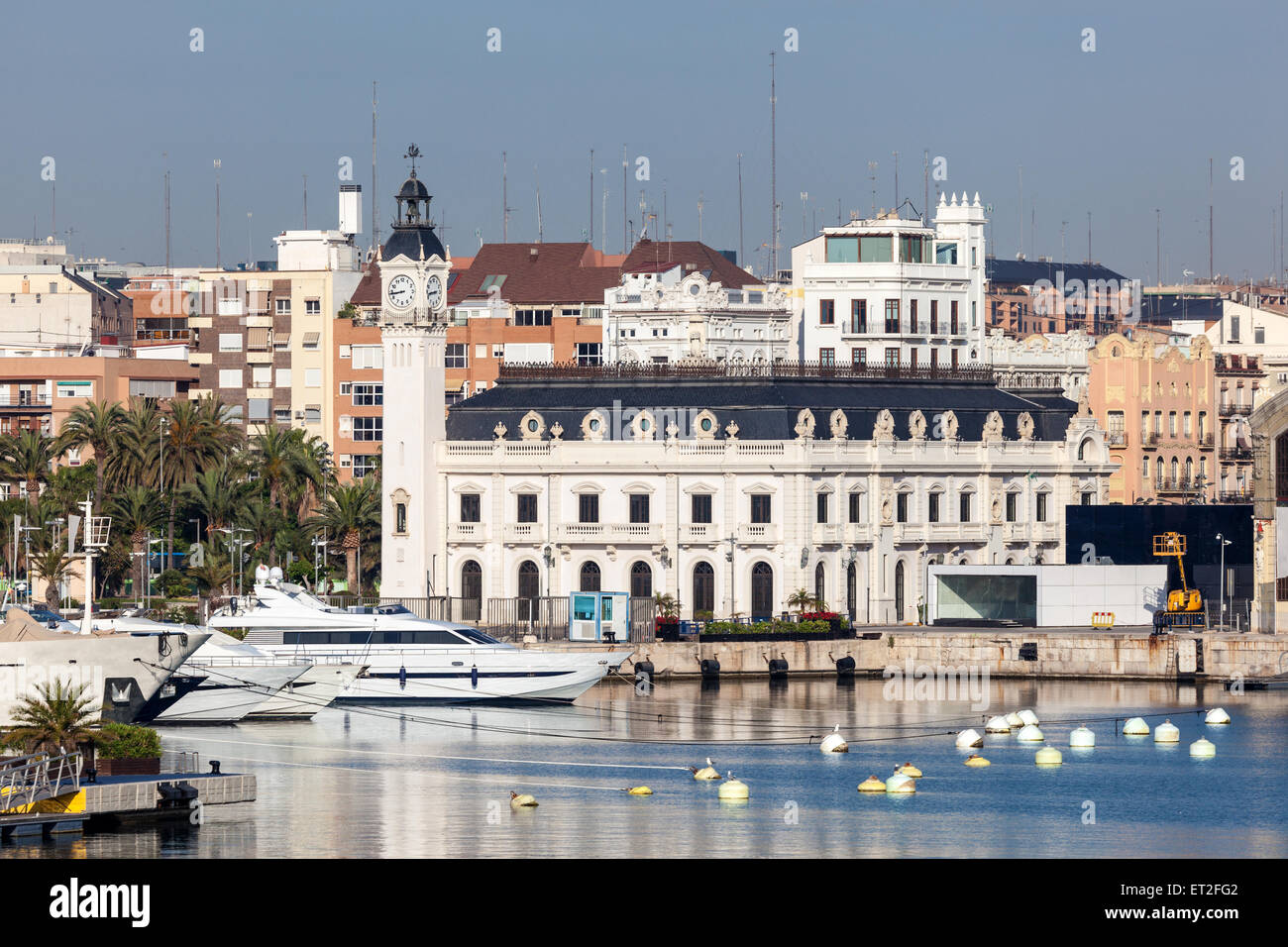 Historic Port Authority building at the old harbor of Valencia, Spain - Stock Image