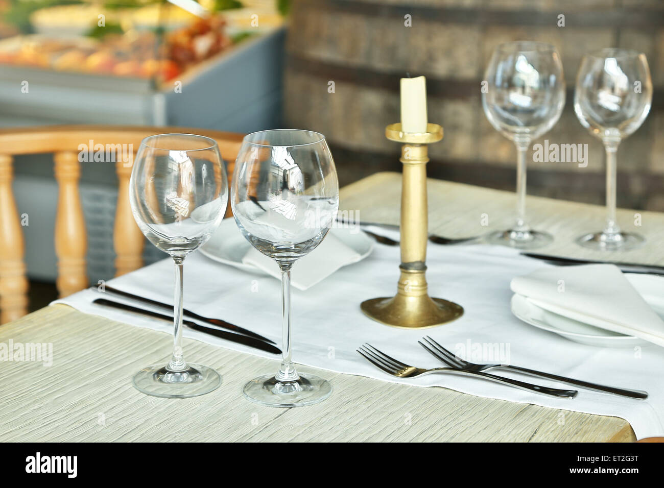 Table Setting With Wine Glasses At The Vintage Cafe Stock Photo - Wine glass table setting