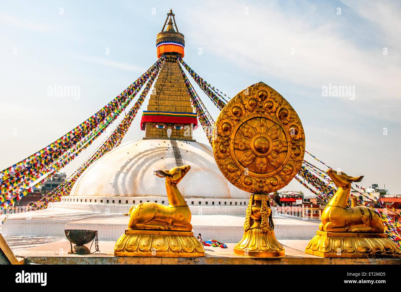 Prayer Flags at Boudhanath stupa in Kathmandu, Nepal - Stock Image
