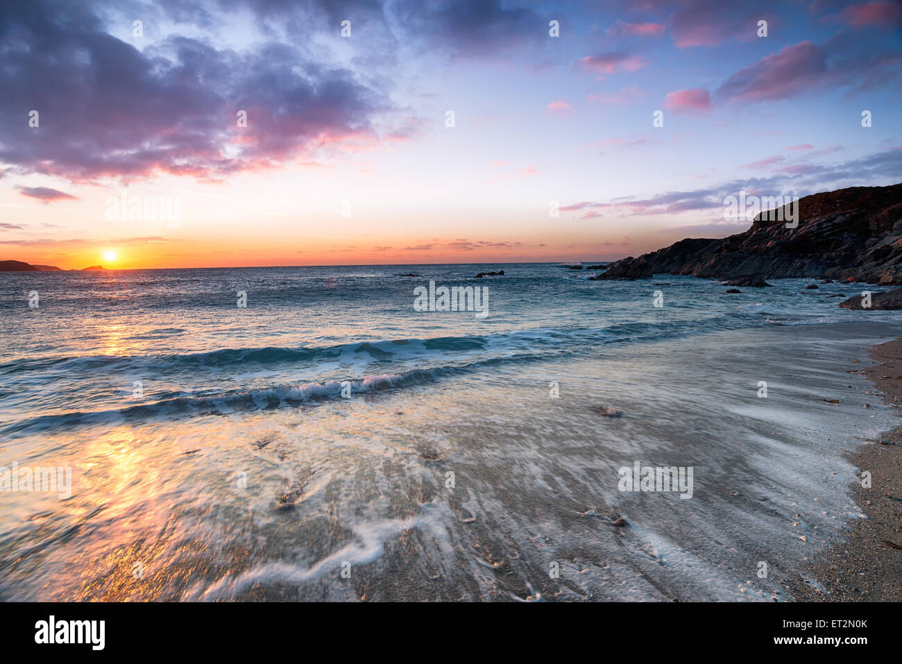 Sunset over Little Fistral beach at Newquay in Cornwall - Stock Image