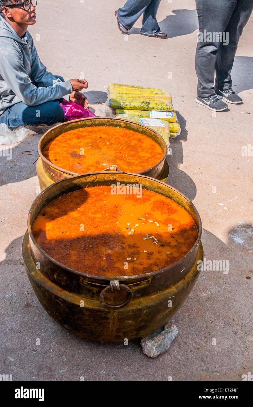 Herbal water at Boudhanath stupa in Kathmandu, Nepal - Stock Image