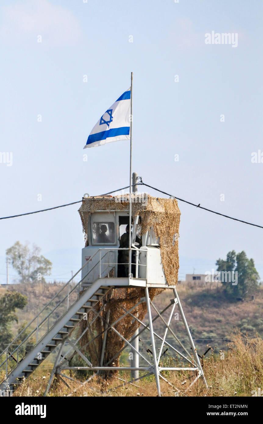 The Israeli Jordanian Border Photographed at Naharaim on the Jordan River Guard tower - Stock Image