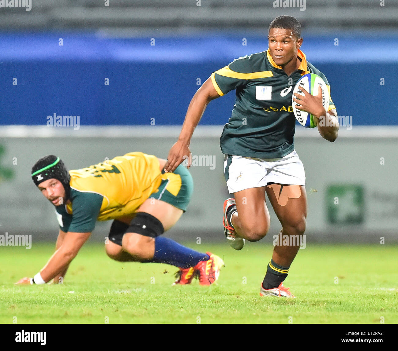 South Africa versus Australia at the World Rugby Under 20 Championship in 2015 - Stock Image