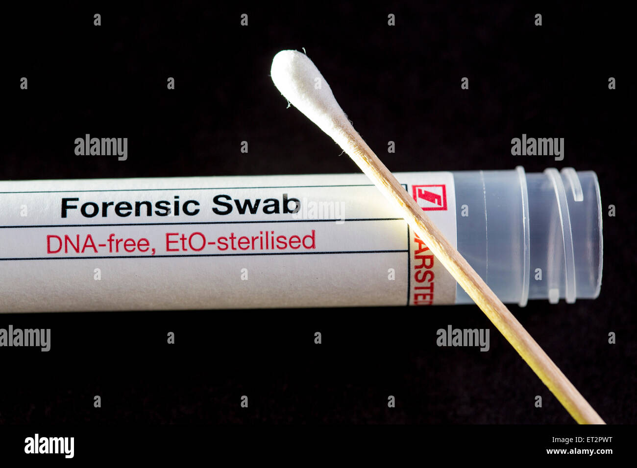 Cotton Swab,  free of foreign DNA for analysis of DNA traces in Forensic Science, crime scene investigation, - Stock Image