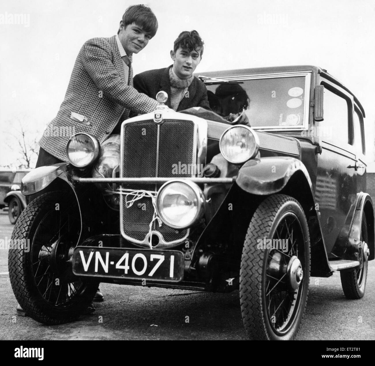 Student John Marshall (left) leaves Teesside later today on a drive that will really test the endurance of his 1932 - Stock Image