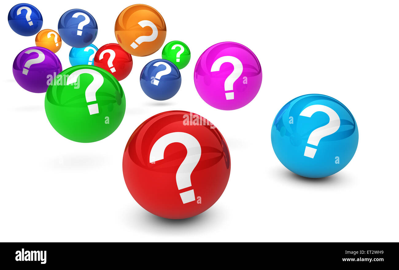 Question mark symbol and sign on colorful bouncing glossy spheres 3d render isolated on white background. - Stock Image