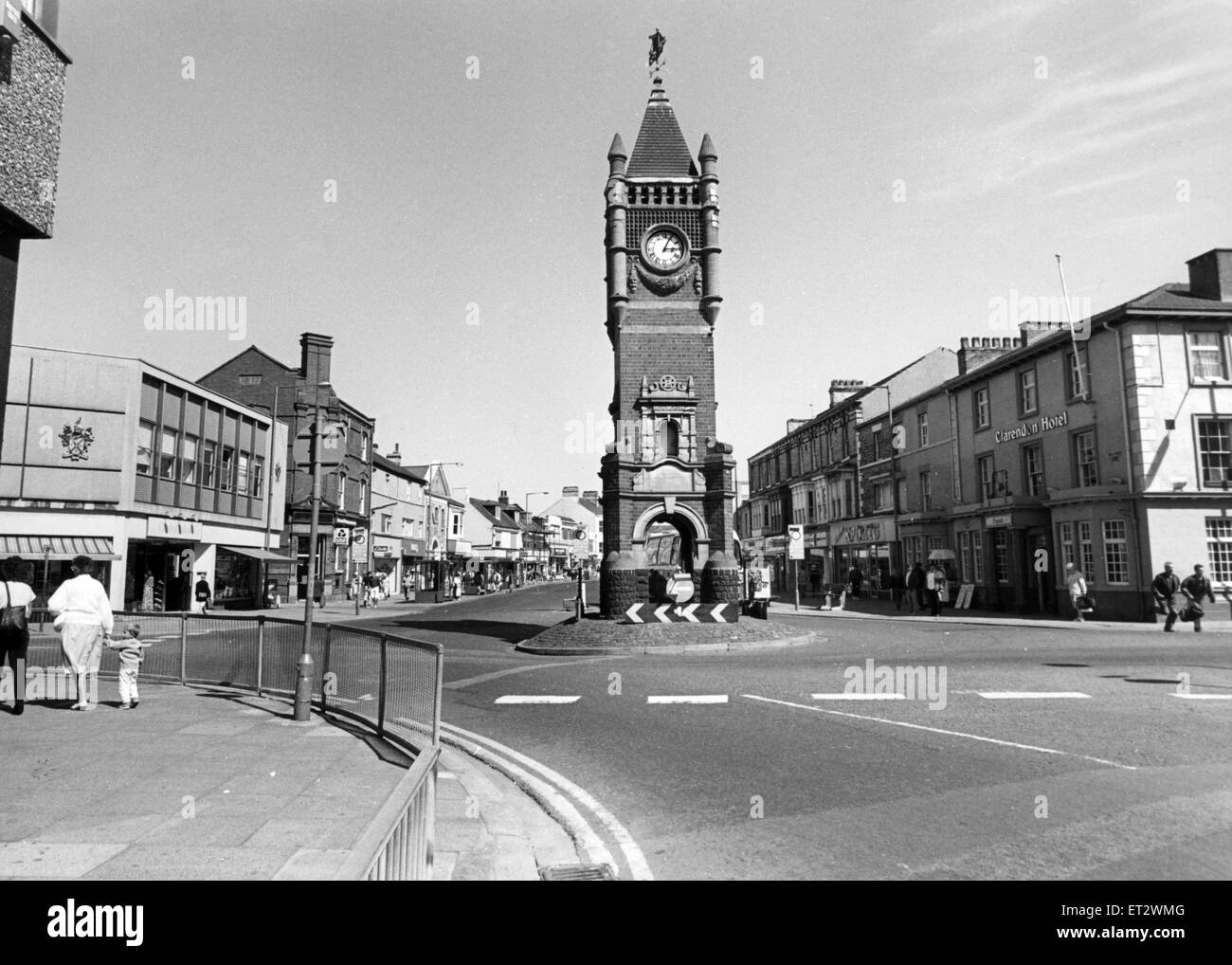Clock Tower, Redcar, 5th July 1993 - Stock Image
