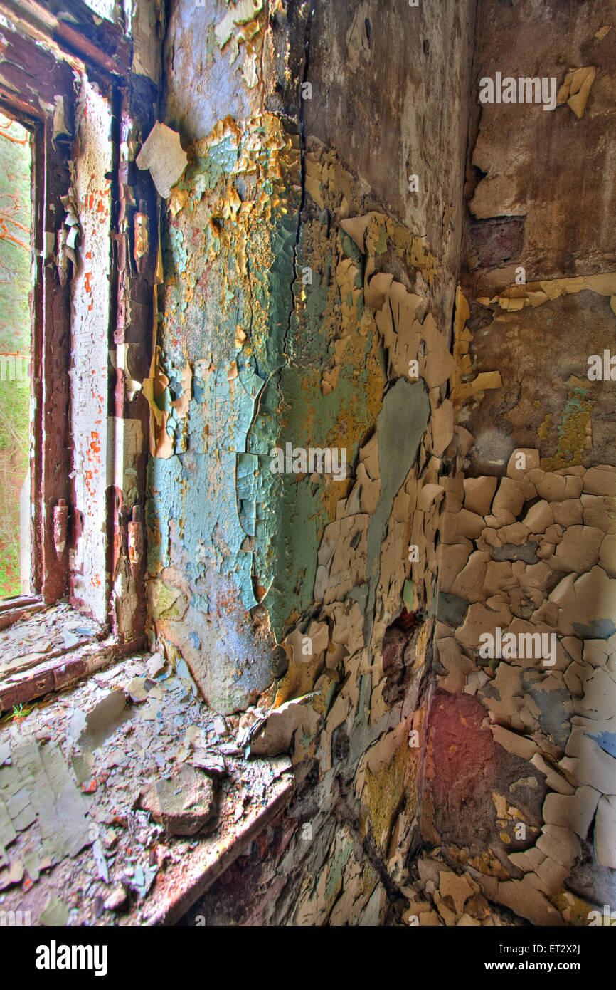 Destroyed building of the former psychiatric hospital Zofiówka - Stock Image