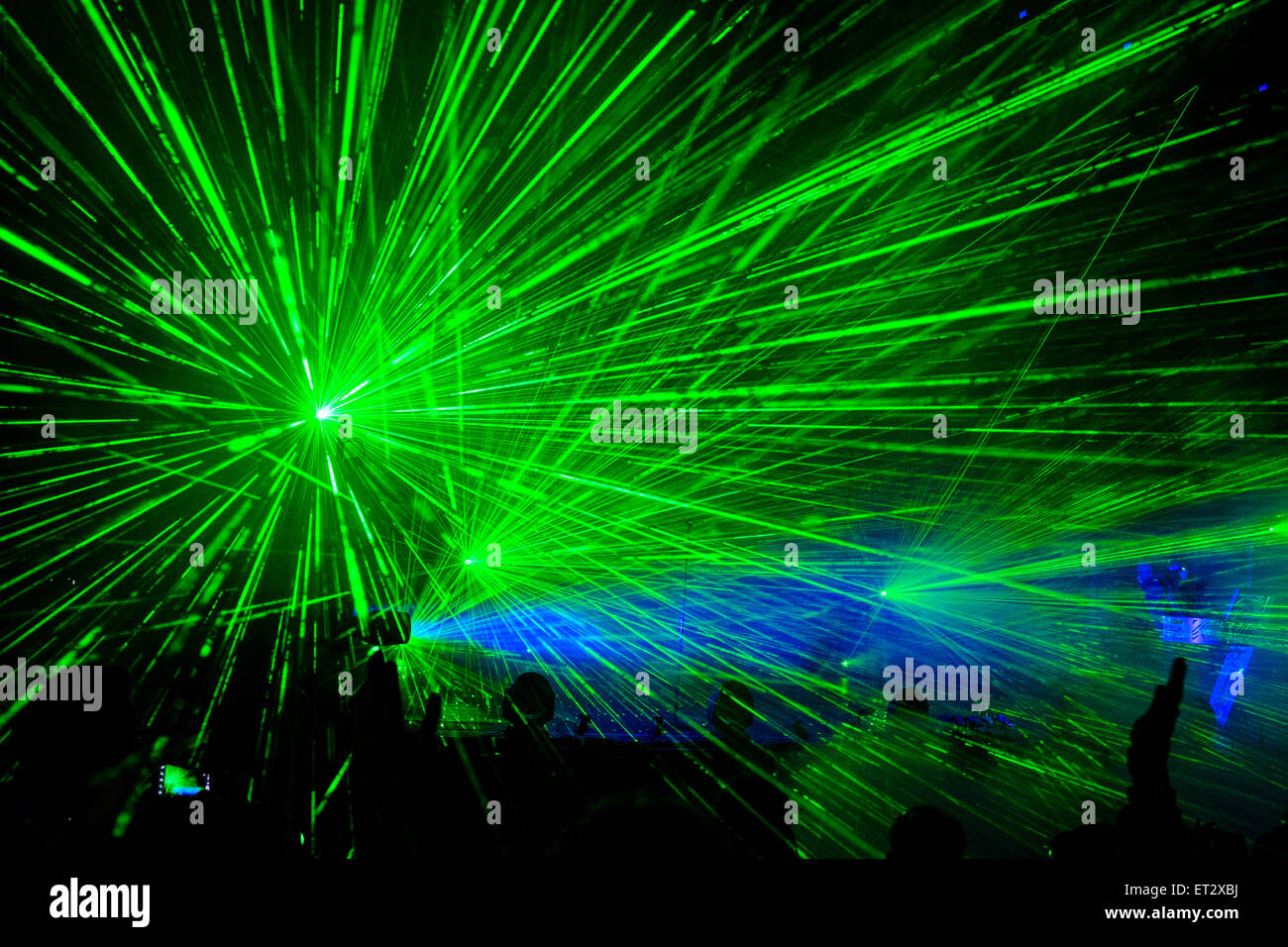 Laser show during Pet Shop Boys 'Electric Tour'. At Festival No.6 in Portmeirion, Wales - Stock Image