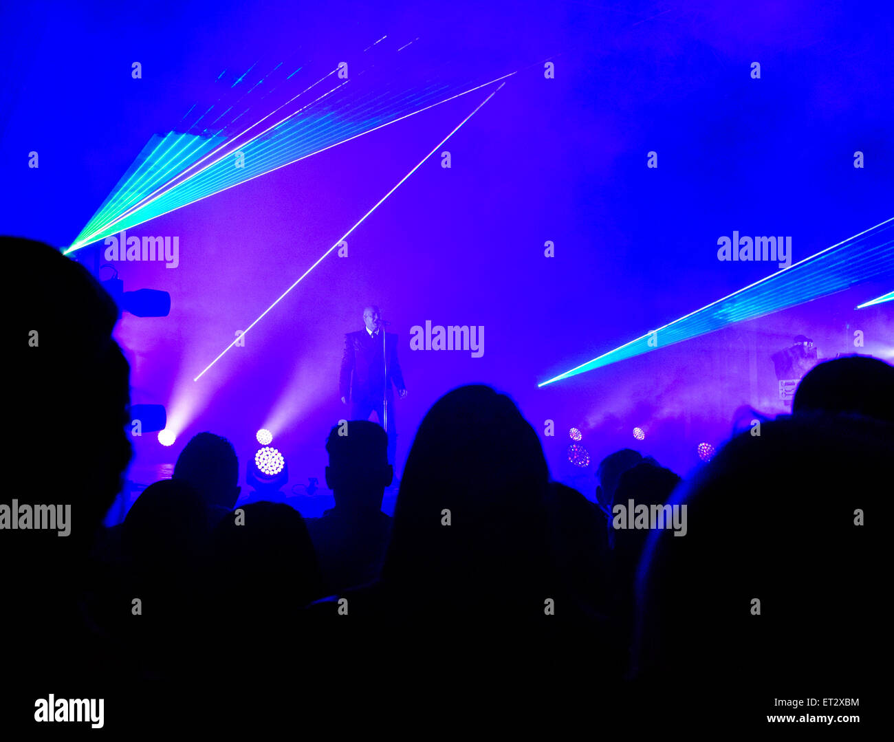 Neil Tennant - singer of 'Pet Shop Boys' on stage, during their 'Electric Tour' at Festival No.6, in Portmeirion, Stock Photo