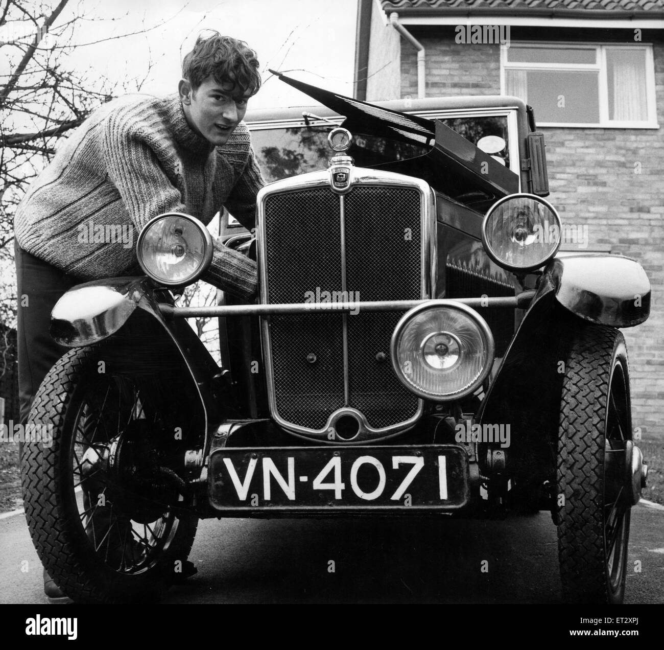 Student John Marshall leaves Teesside in two days, on a drive that will really test the endurance of his 1932 Morris - Stock Image