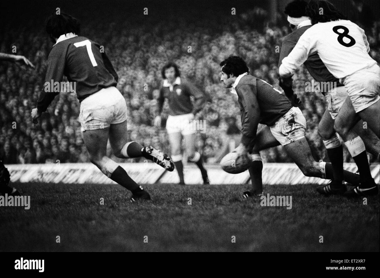 England 9-21 Wales, Rugby Union, Five Nations Championship match at Twickenham, 17th January 1976. - Stock Image