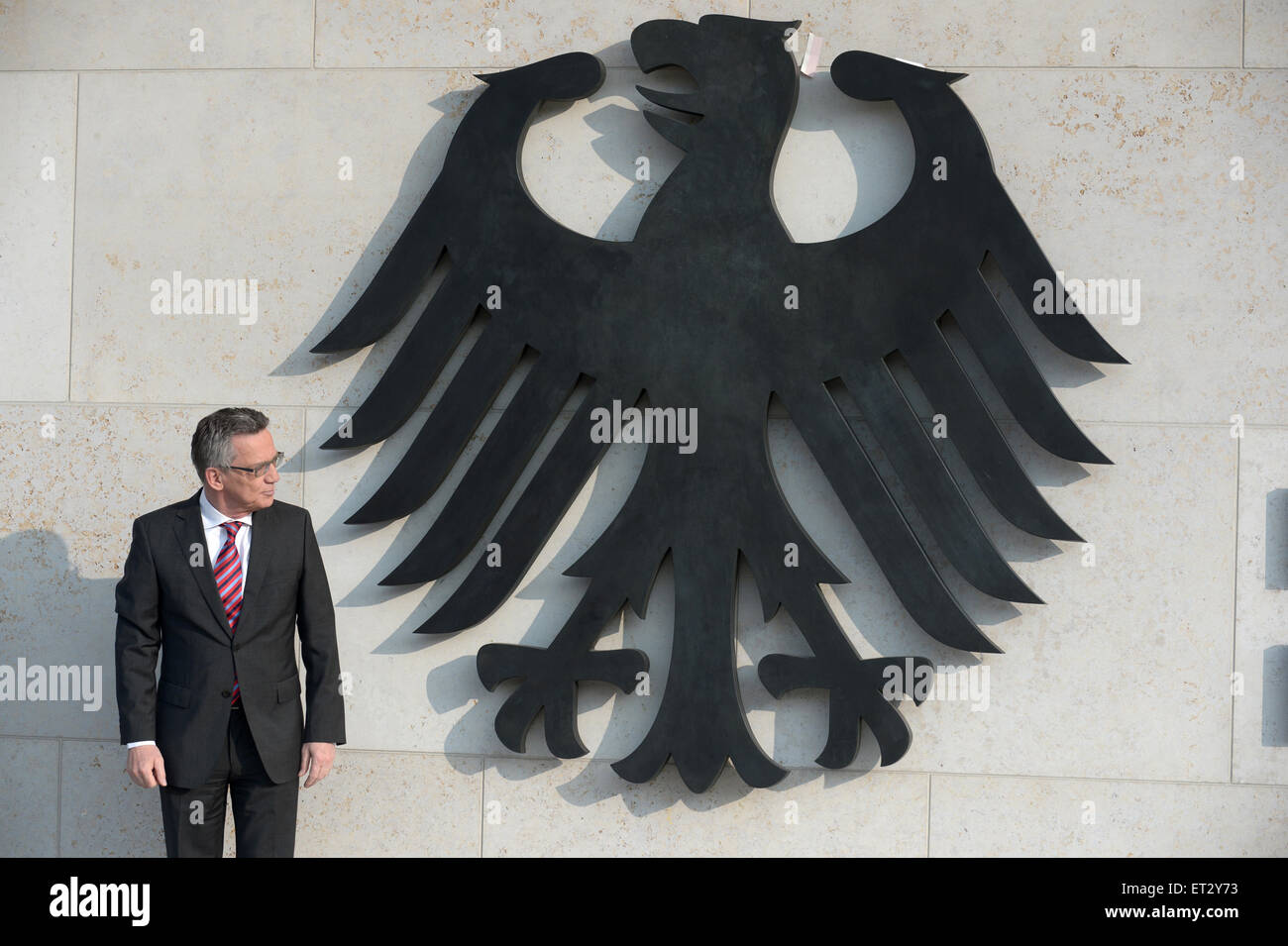 Berlin, Germany, German Interior Minister Thomas de Maiziere, CDU, in addition to the federal eagle - Stock Image