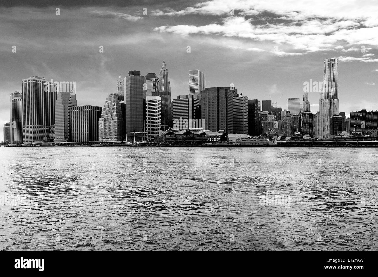 Looking for the best views of New York City this is iconic Manhattan skyline taken over the East River - USA - Stock Image