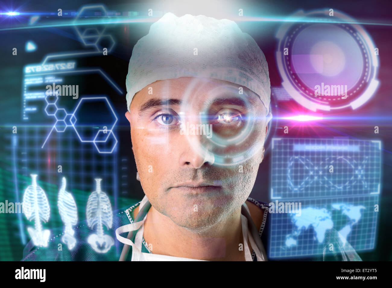Doctor in uniform with digital  screens and heads-up display - Stock Image