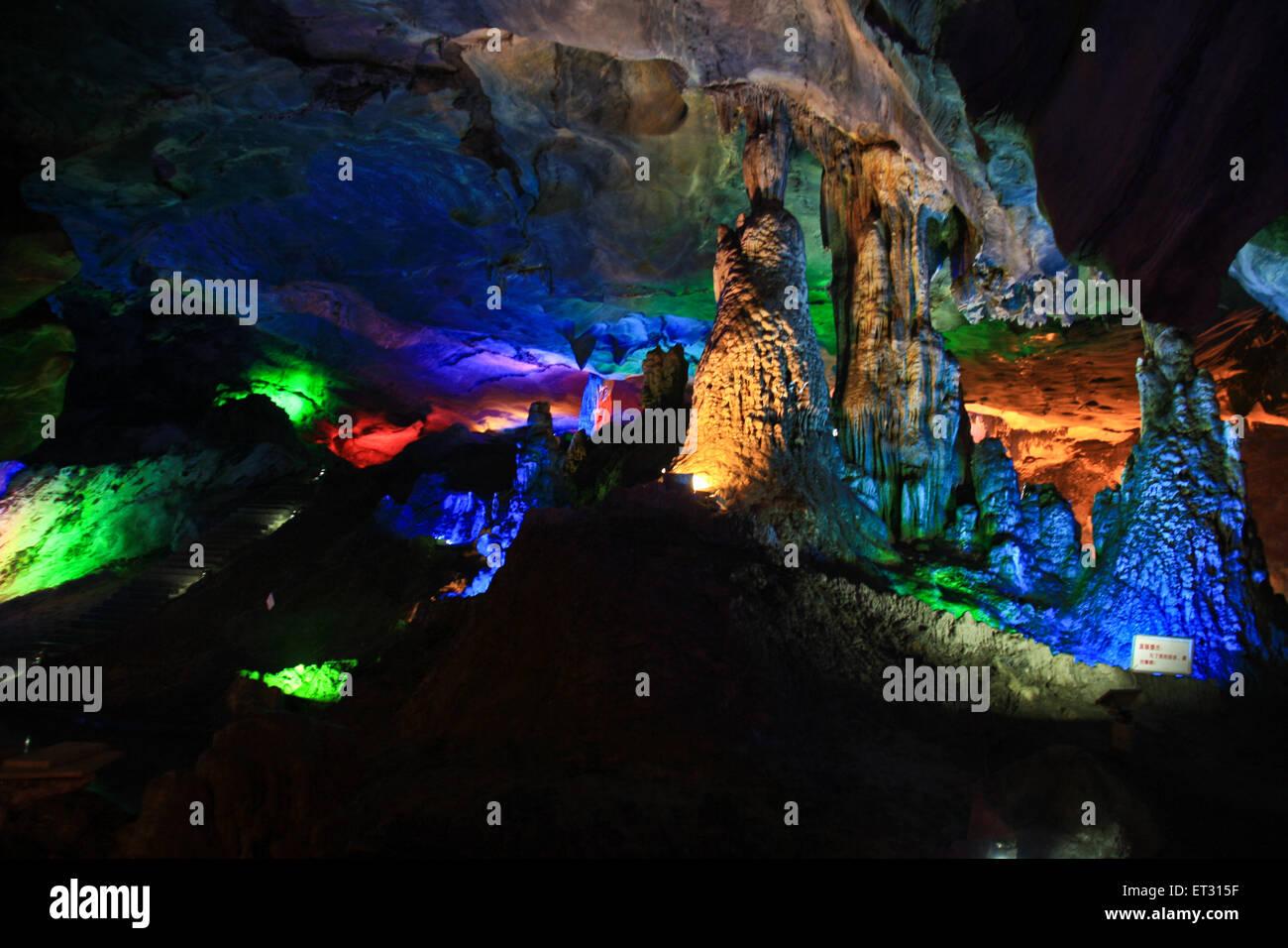 strange shapes in the karst cave. Stock Photo