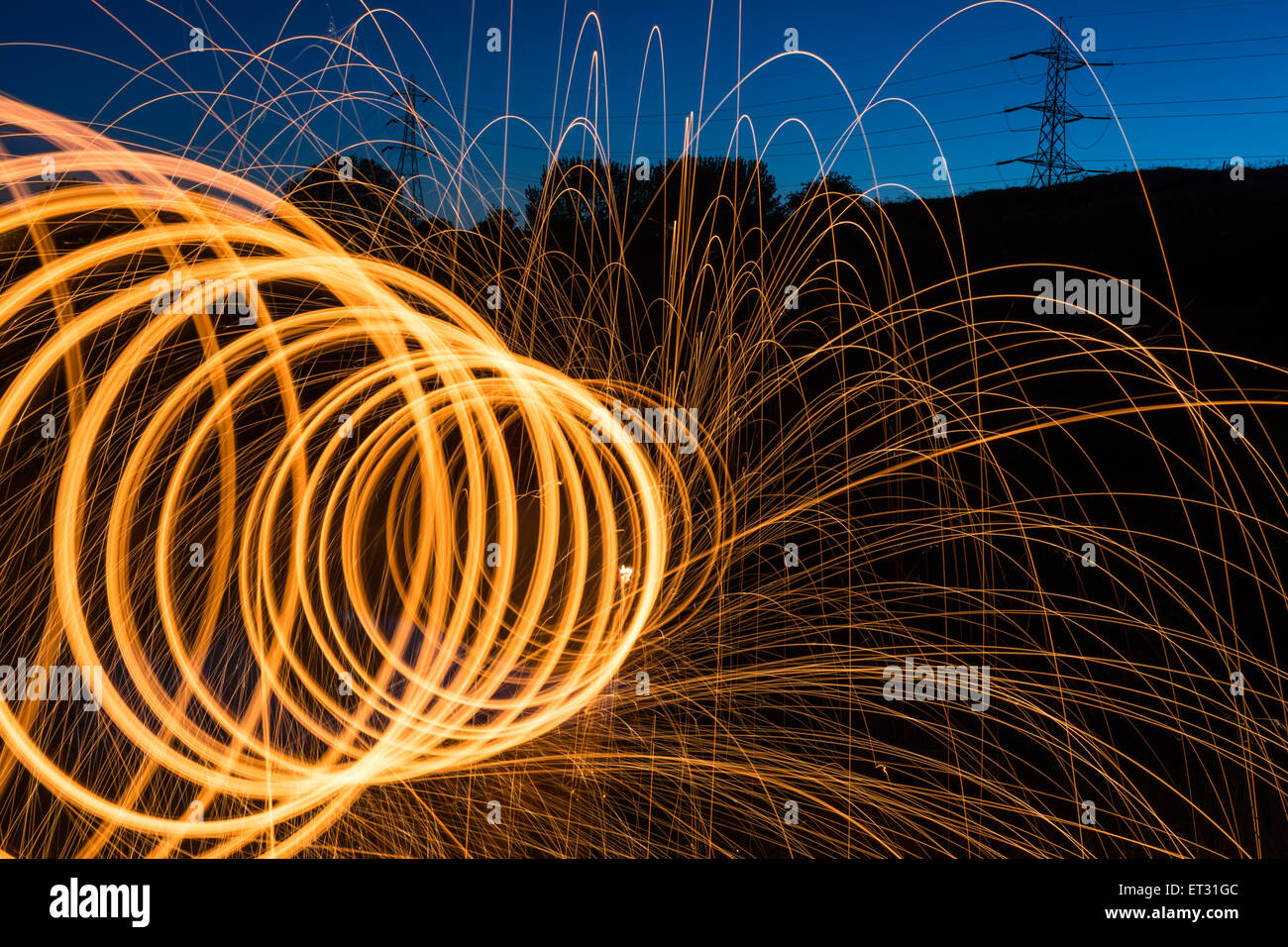 Steel photography light trails - Stock Image