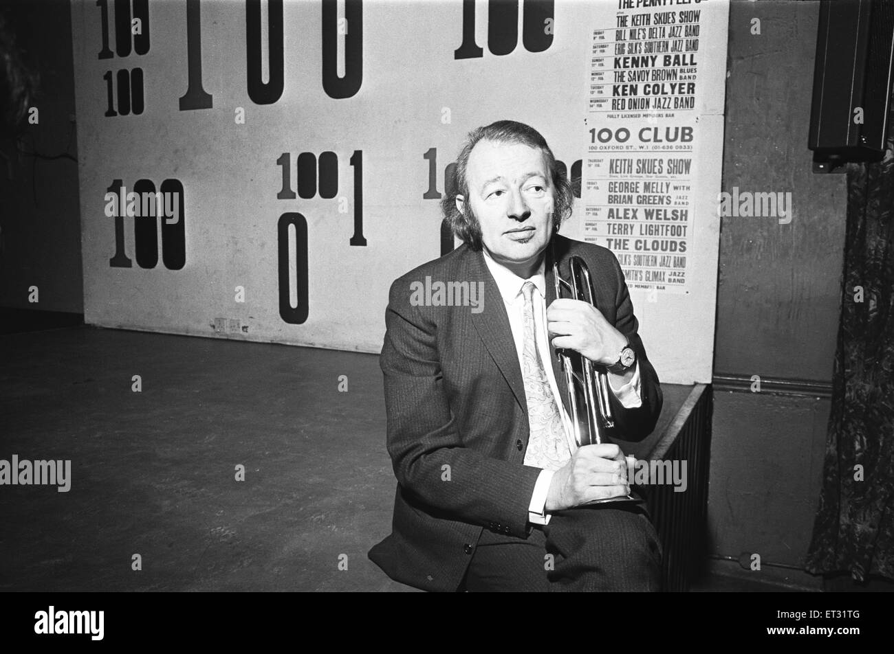 Humphrey Lyttelton Jazz musician  seen here at the 100 Club on Oxford Street. 13th February 1965 - Stock Image