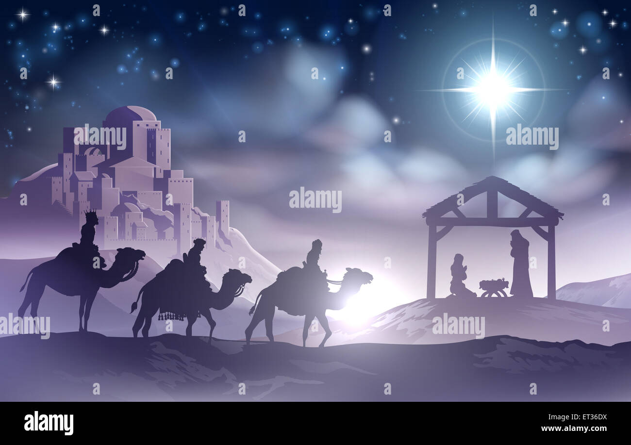 traditional christian christmas nativity scene of baby jesus in the