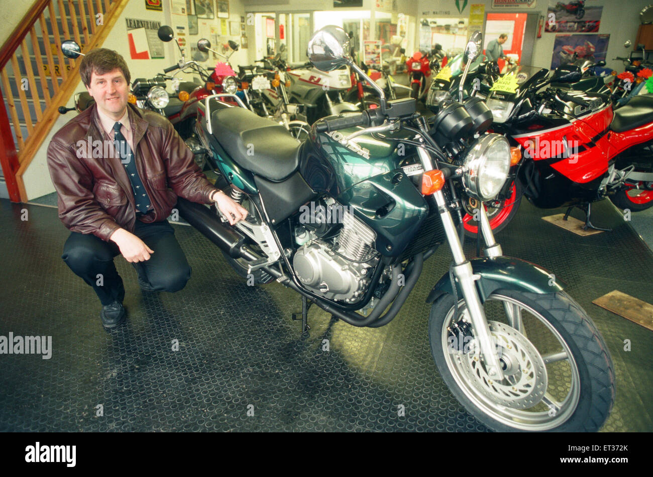 Russell Armstrong with the 94 model CB500. 18th January 1994. - Stock Image
