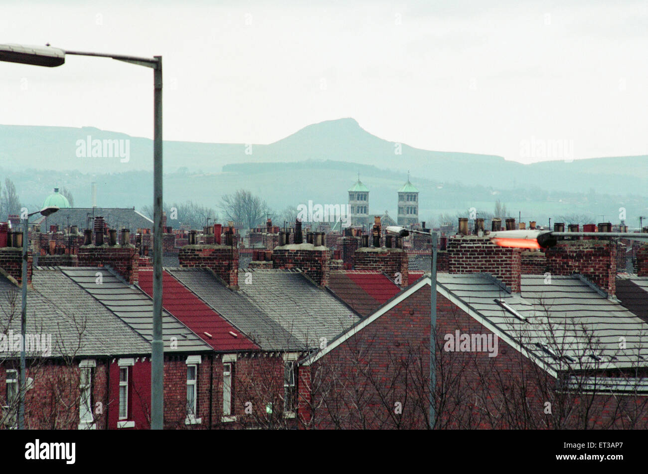 Middlesbrough, 16th February 1993. Rooftops and Chimney Pots. - Stock Image
