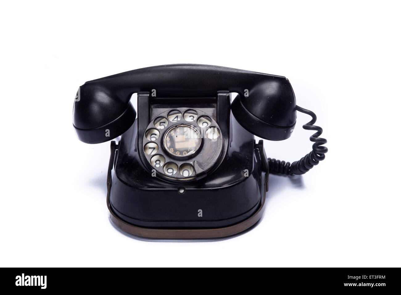 vintage telephone isolated on white background - Stock Image