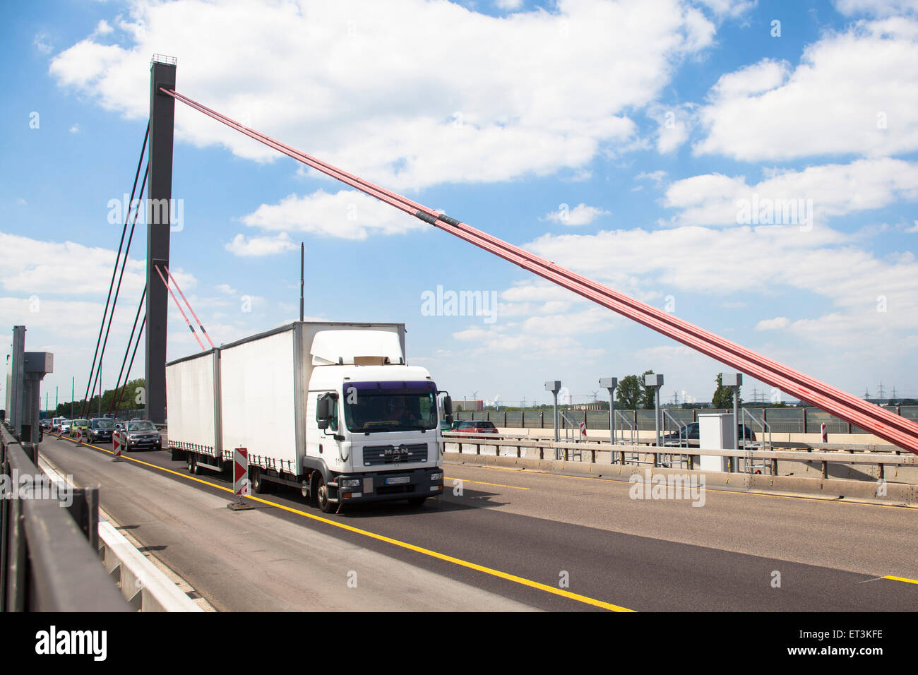 Europe, Germany, Cologne, truck on the river Rhine bridge of the Autobahn A1 between Cologne and Leverkusen. Due Stock Photo