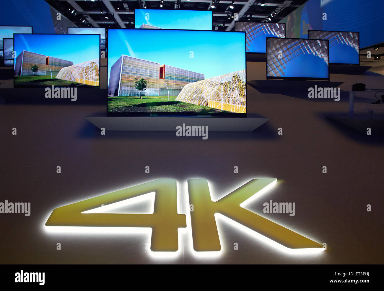 Presented Berlin, Germany, television sets that are equipped with the 4K technology - Stock Image