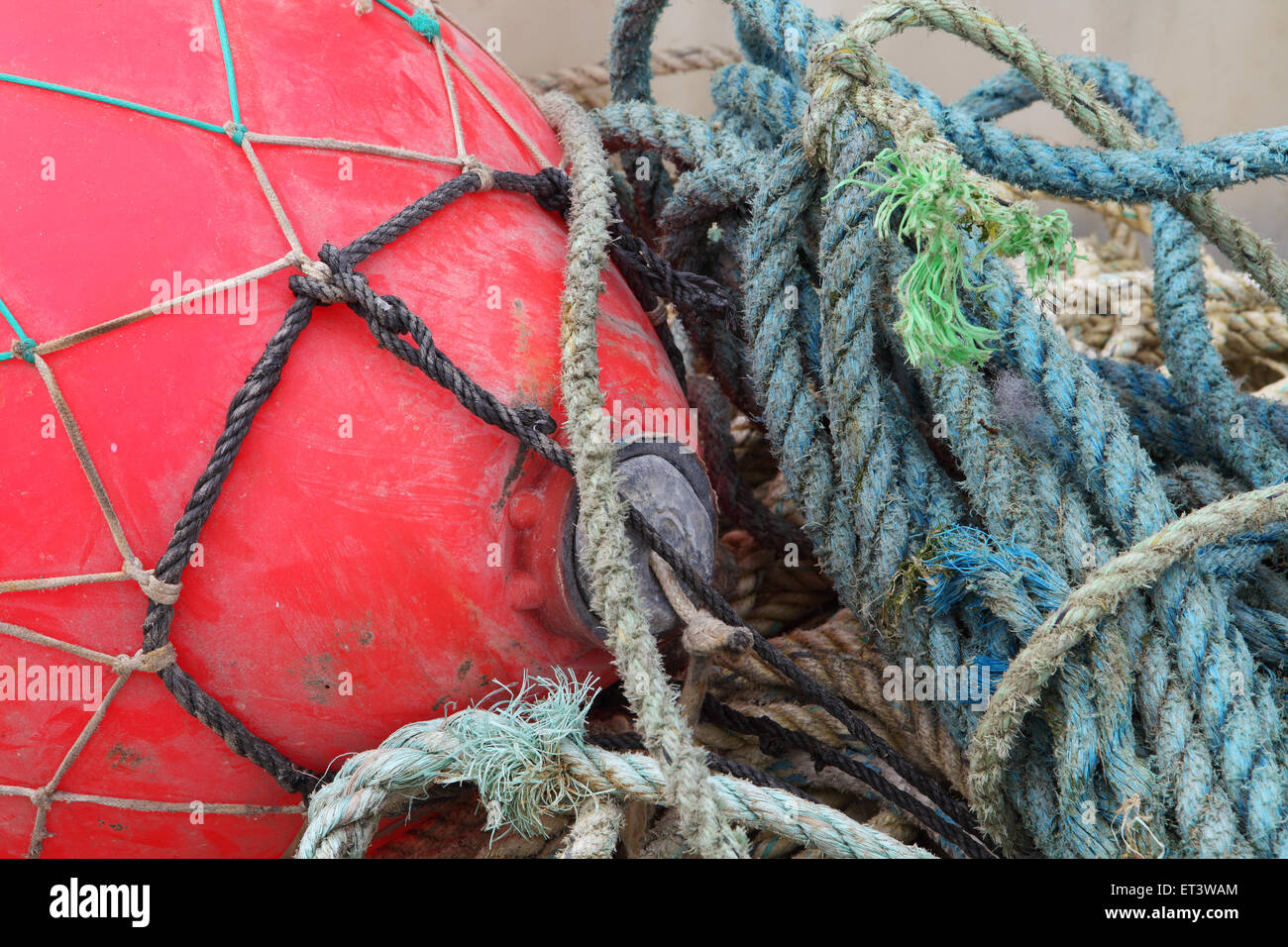 Abstract patterns and shapes in a fishing harbour - Stock Image