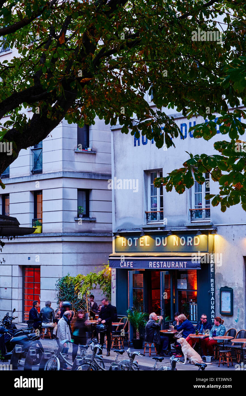 France, Paris, Hotel du Nord on the Canal Saint Martin - Stock Image