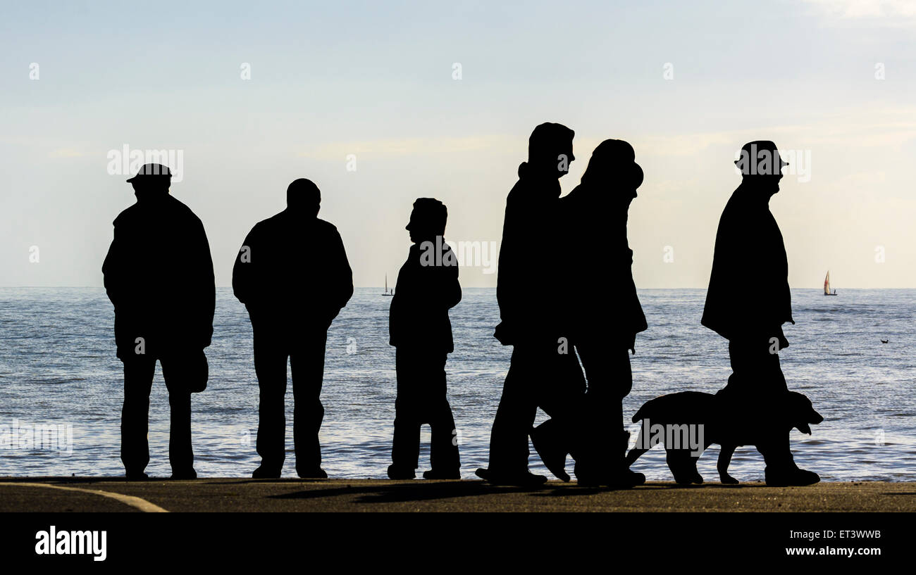 Silhouette of people and a dog walking by the sea. - Stock Image
