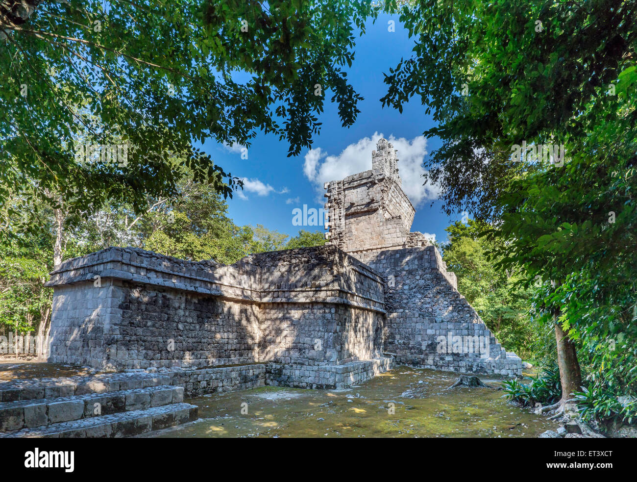 Temple I, Maya ruins at El Tabasqueno archaeological site, near Hopelchen, Yucatan Peninsula, Campeche state, Mexico - Stock Image