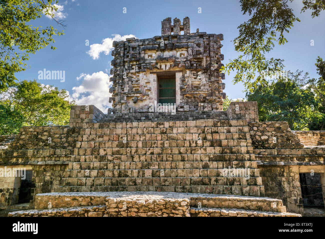 Monster Mouth entrance at Temple I, Maya ruins at El Tabasqueno archaeological site, near Hopelchen, Yucatan Peninsula, - Stock Image