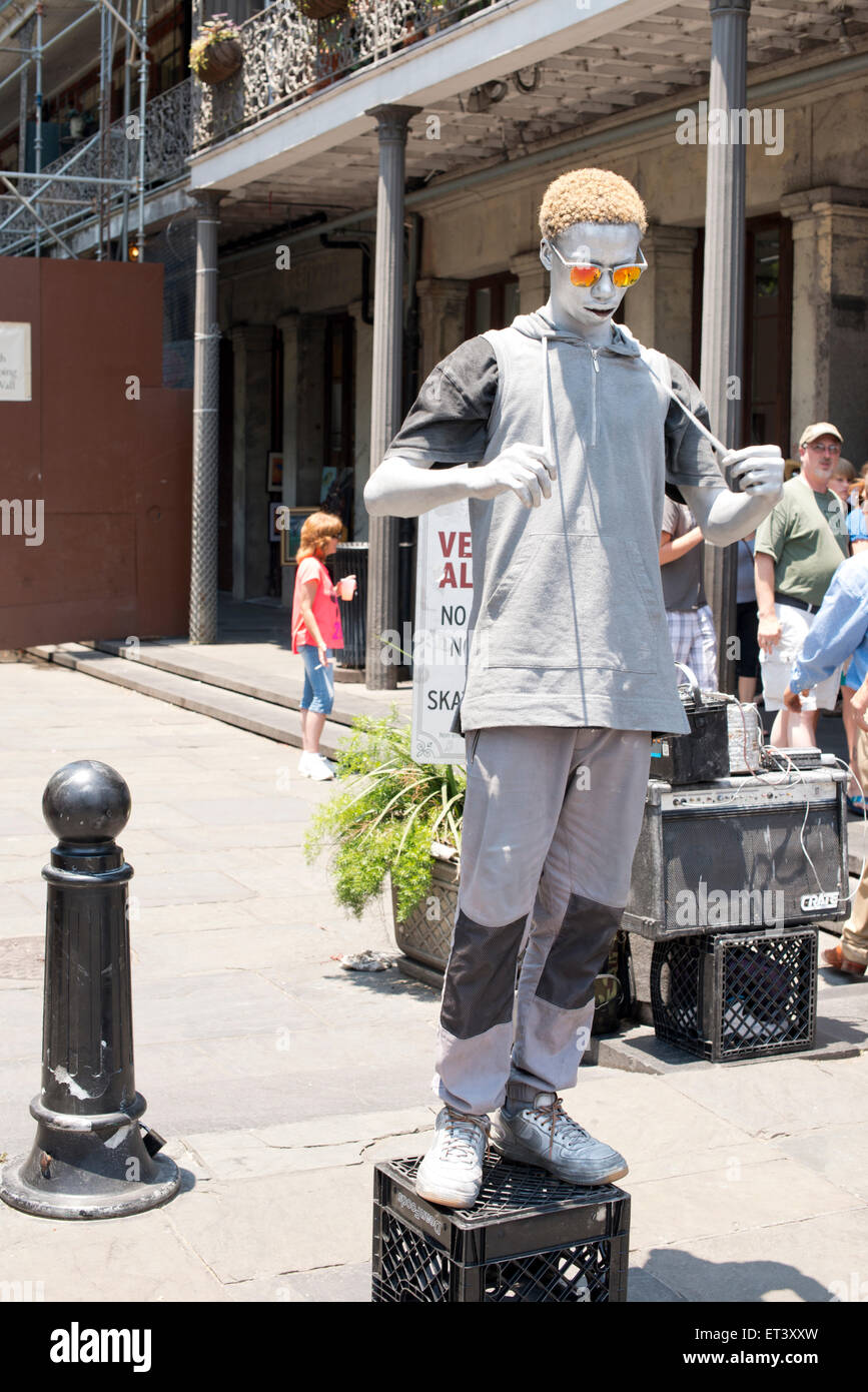 Street performer in New Orleans Louisiana - Stock Image