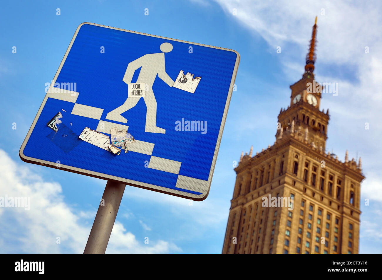 Palace of Culture and Science in Warsaw, Poland - Example of Stalinist architecture - Stock Image
