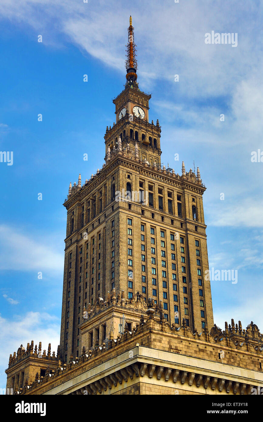 Palace of Culture and Science in Warsaw, Poland - Example of Stalinist architecture Stock Photo