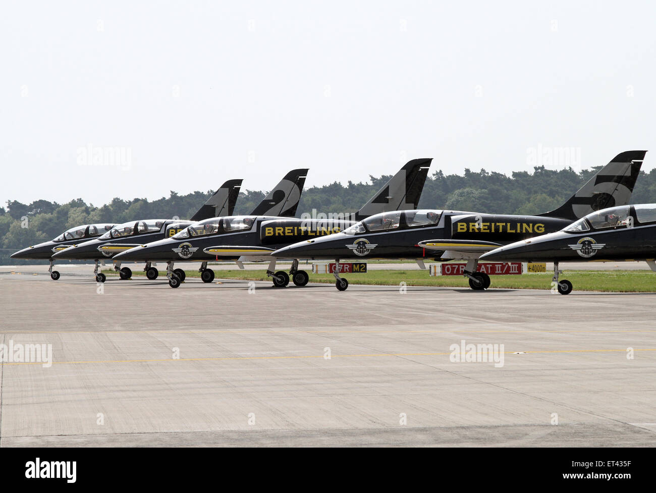 Schoenefeld, Germany, aircraft aerobatic team Breitling Jet Team - Stock Image