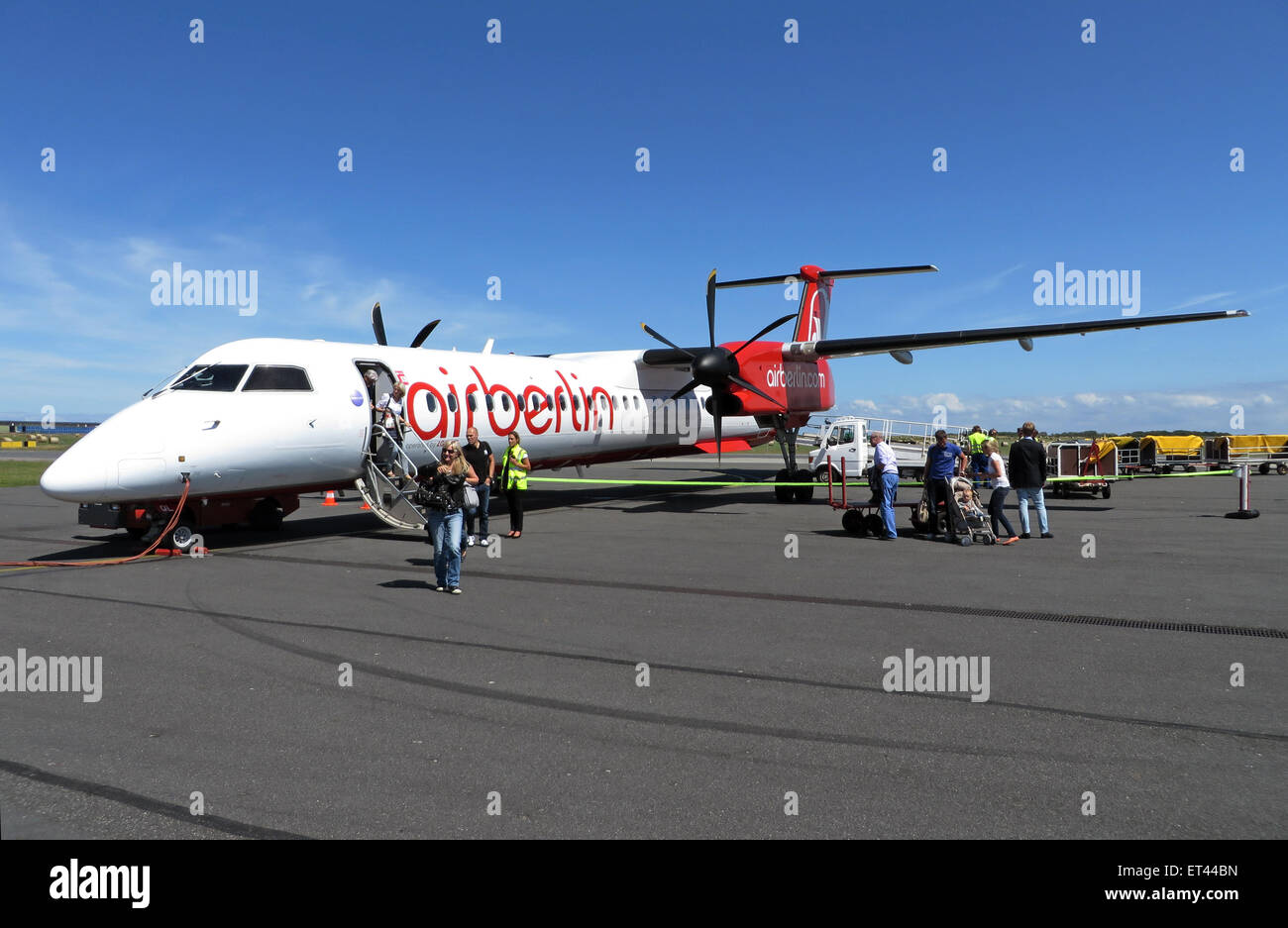 Sylt, Germany, Bombardier Dash 8Q-400 of Air Berlin - Stock Image