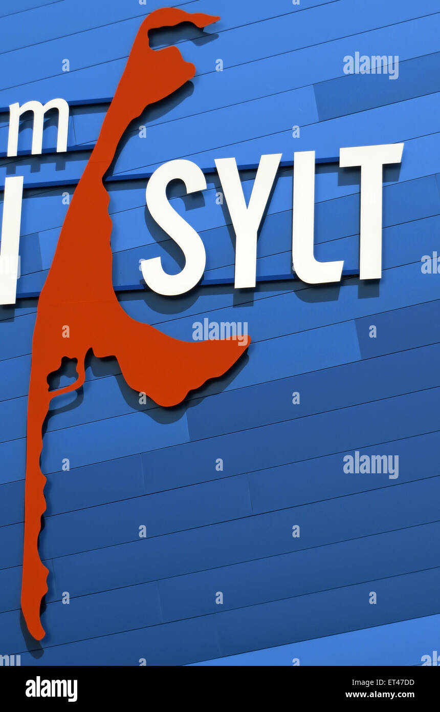 List, Germany, lettering and outline of the island of Sylt - Stock Image