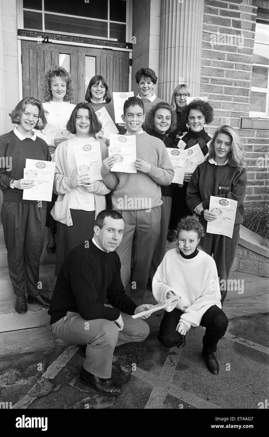 Eleven sixth-form students from Mirfield High have received community sports leadership awards. 14th January 1992. - Stock Image