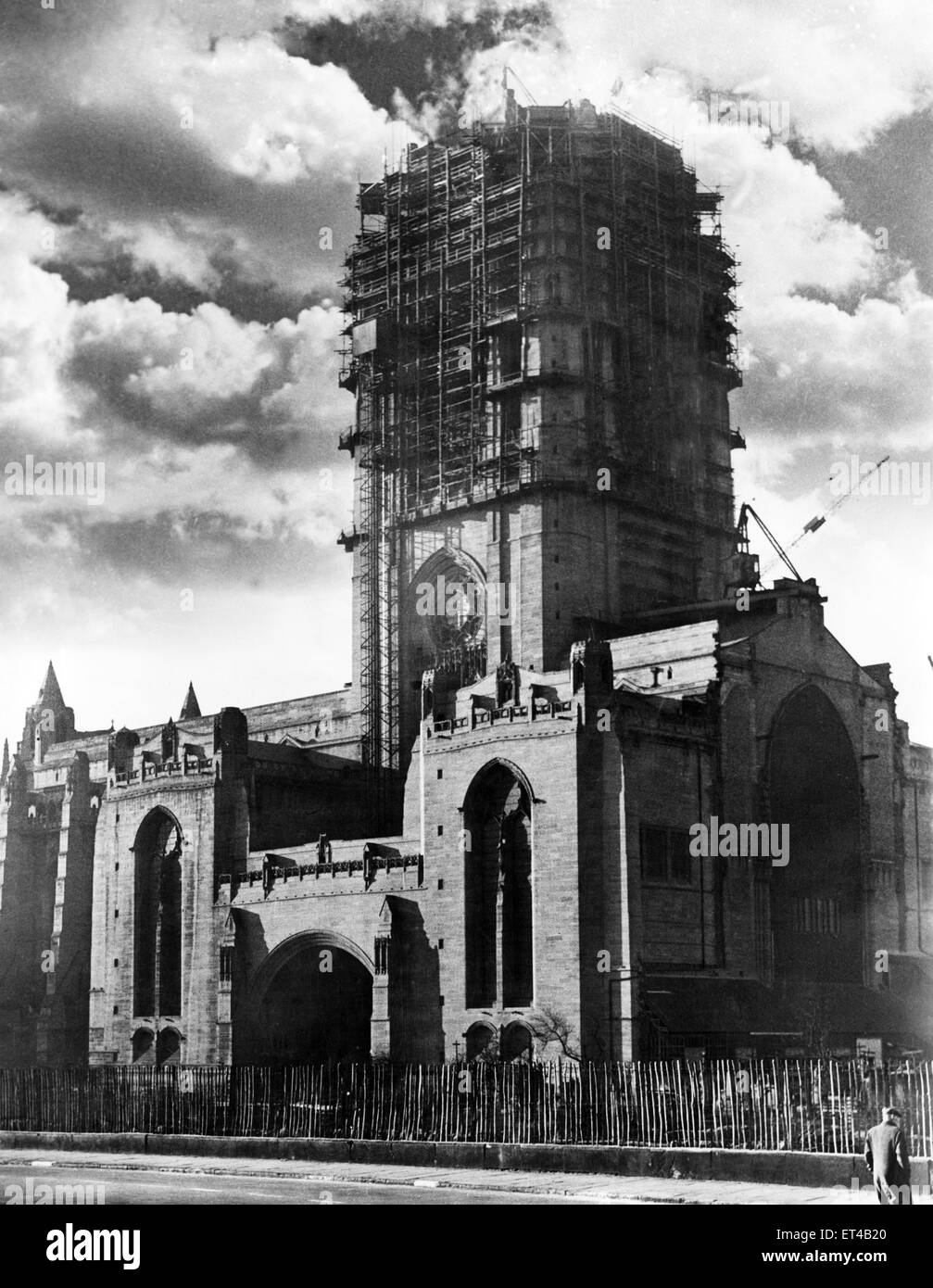 The completed portion of the main building of the Liverpool Anglican Cathedral, with the Vestry Tower also approaching - Stock Image