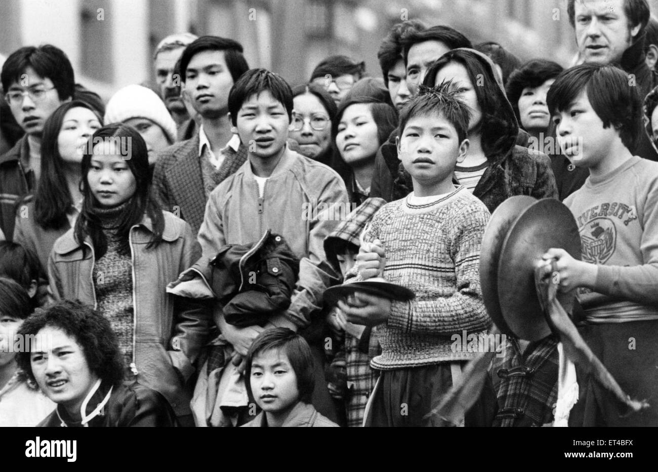 Liverpool's Chinese community ushered in the Year of the Snake with traditional celebrations. Spectators brave - Stock Image