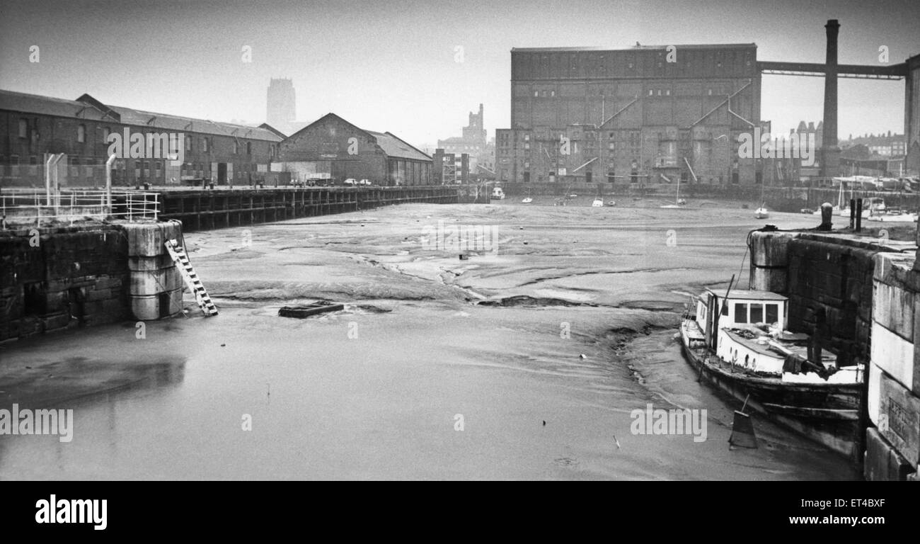 The South Docks, Liverpool, now almost completely silted up since the docks closed in 1972 and dredging operations - Stock Image