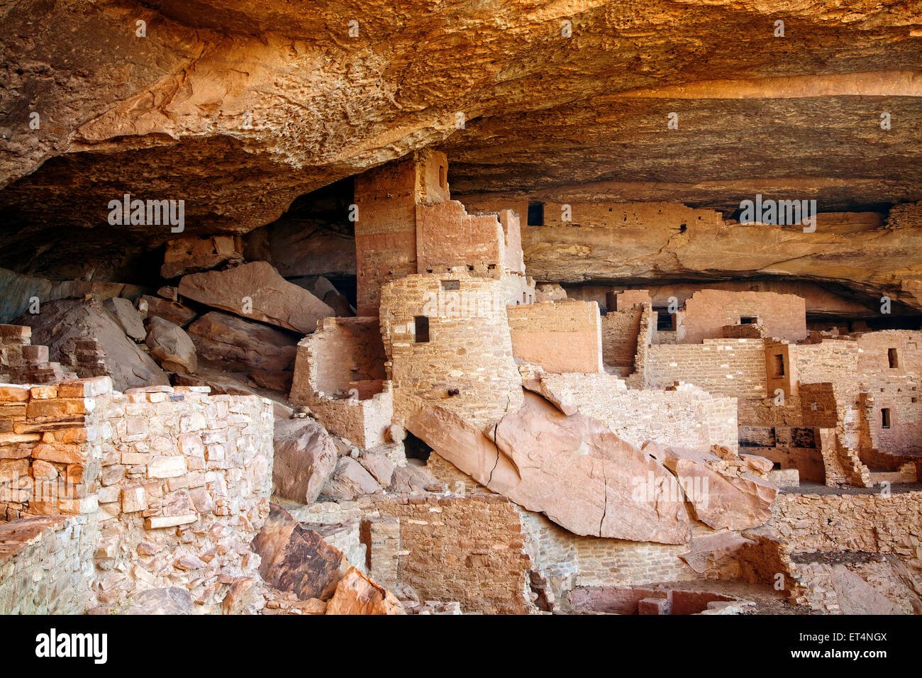 The Cliff Palace ruins in Mesa Verde National Park, Colorado. - Stock Image