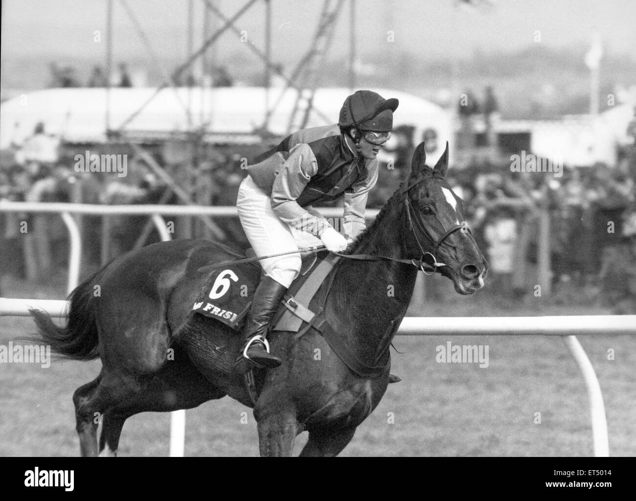 Mister Frisk ridden by Marcus Armytage seen here before the start of the 1990 Grand National. 7th April 1990 - Stock Image
