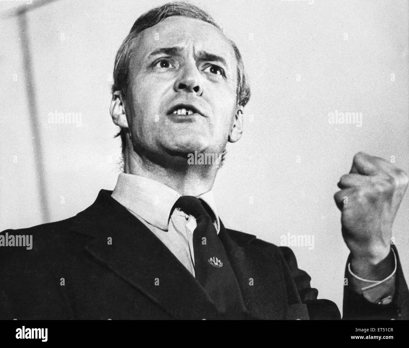 Tony Benn seen here talking in Newcastle 27th October 1977 - Stock Image